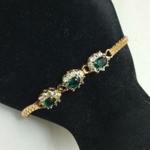 Jewelry - Vintage faux diamond & emerald earrings & bracelet